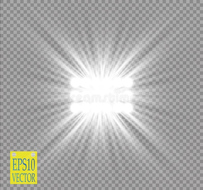 Efecto luminoso del proyector blanco del vector sobre fondo transparente Concierte la escena con las chispas iluminadas por el ra ilustración del vector