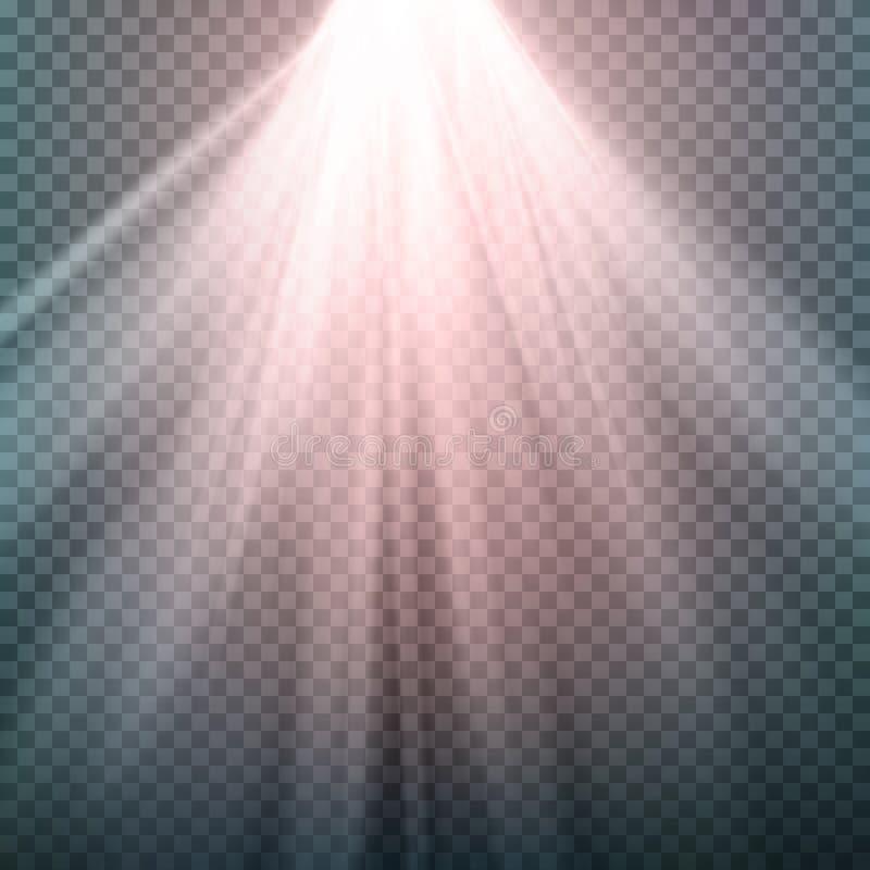 Efecto luminoso del resplandor El haz irradia vector Efecto luminoso de la llamarada especial de la lente de la luz del sol Aisla ilustración del vector