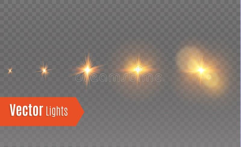 Efecto luminoso del resplandor Explosión de la estrella con las chispas Estrella de la animación libre illustration