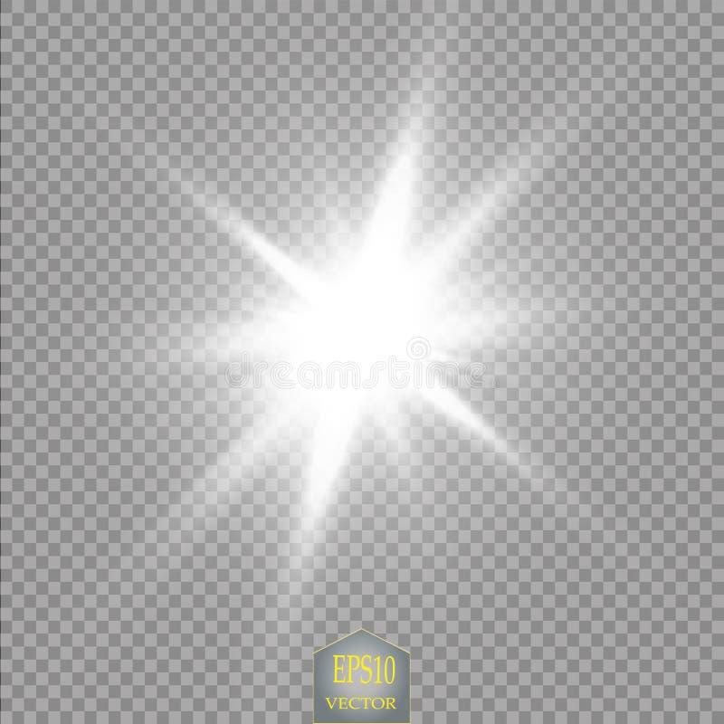 Efecto luminoso del resplandor Explosión de la estrella con las chispas Dom Extracto cósmico de las luces de neón de la energía d ilustración del vector
