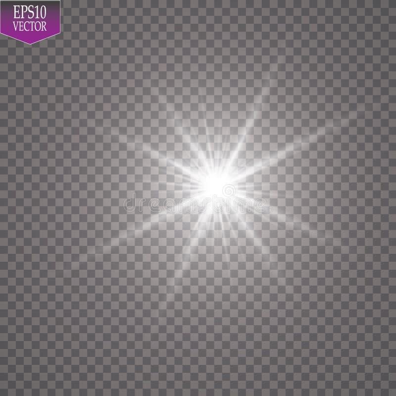 Efecto luminoso del resplandor Starburst con las chispas en fondo transparente Ilustración del vector Dom ilustración del vector
