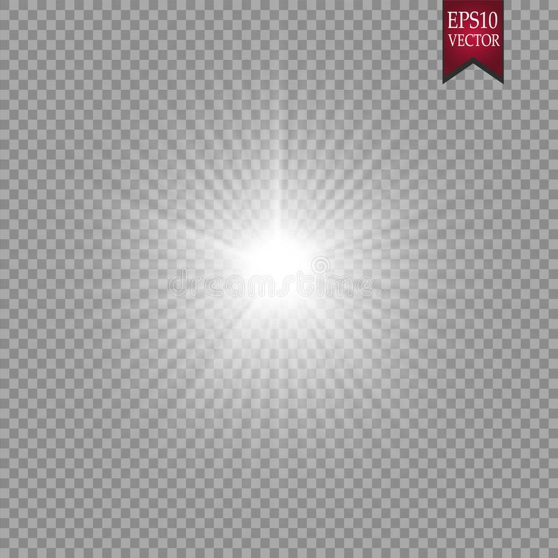Efecto luminoso del resplandor Starburst con las chispas en fondo transparente Ilustración del vector Dom foto de archivo