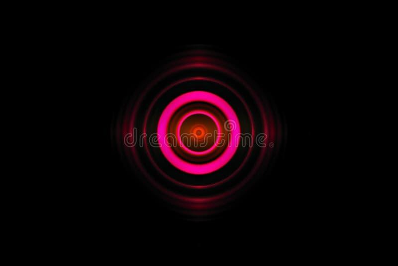 Efecto luminoso del rosa del ojo del extracto con el fondo oscilante de las ondas acústicas stock de ilustración