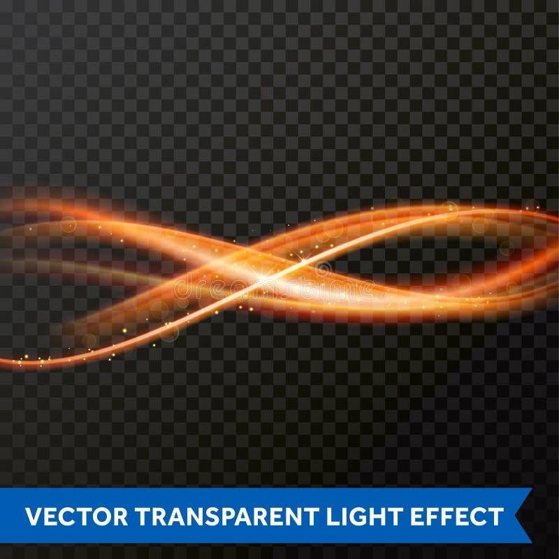 Efecto luminoso del vector de la línea remolino del oro Rastro ligero de la llamarada del fuego que brilla intensamente libre illustration