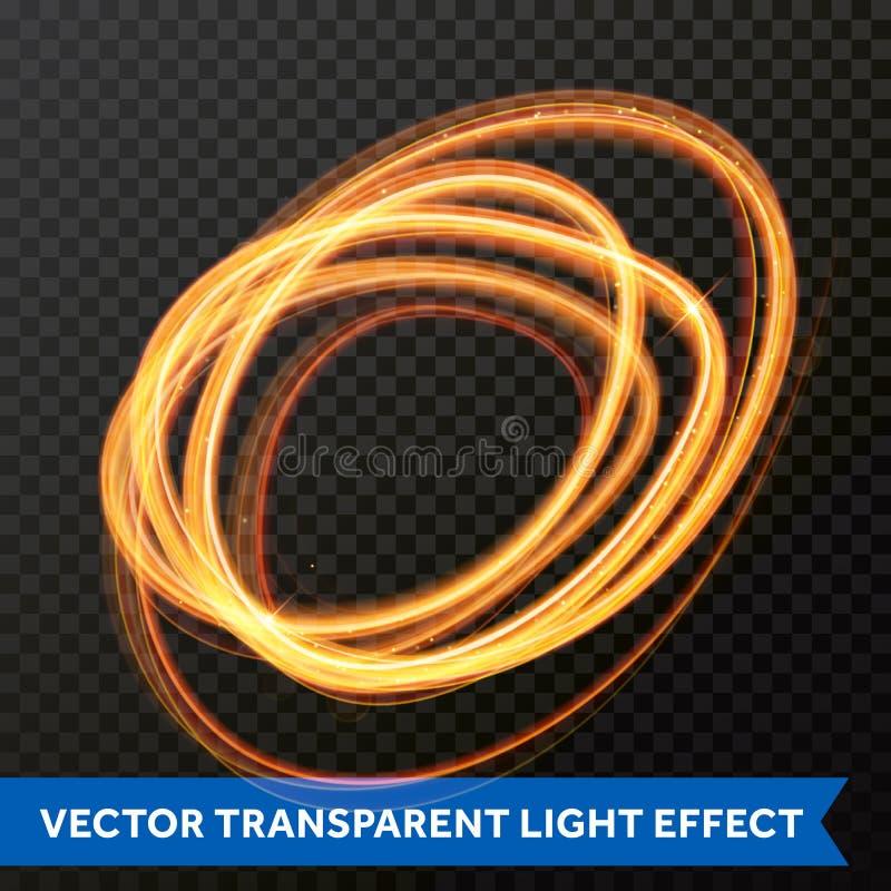 Efecto luminoso del vector de la línea remolino del oro del círculo Rastro ligero de la llamarada del fuego que brilla intensamen stock de ilustración
