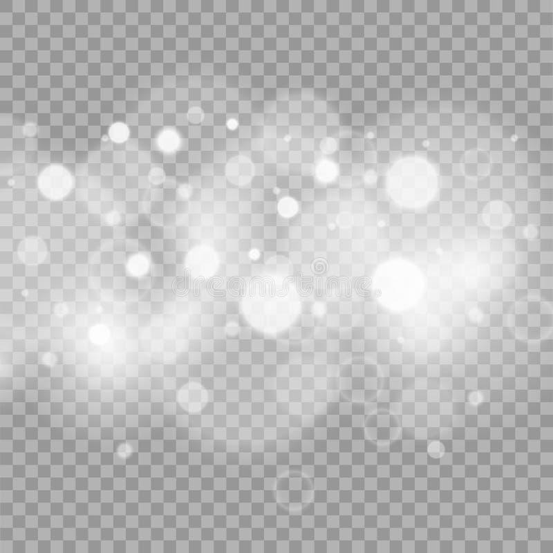 Efecto luminoso especial del brillo blanco de las chispas El vector chispea en fondo transparente ilustración del vector