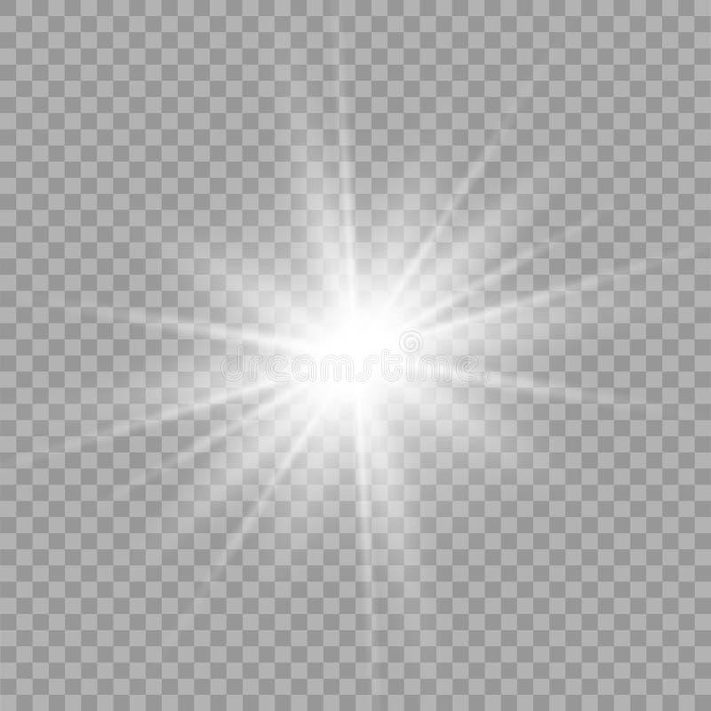 Efecto luminoso especial del brillo blanco de las chispas El vector chispea en fondo transparente Efecto especial de la flama lig ilustración del vector