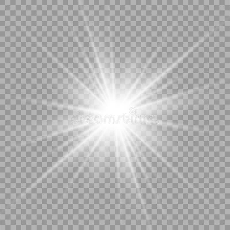 Efecto luminoso especial del brillo blanco de las chispas El vector chispea en fondo transparente Efecto especial de la flama lig stock de ilustración