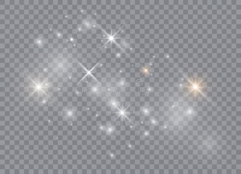 Efecto luminoso especial del brillo blanco de las chispas El vector chispea en fondo transparente P?rticulas de polvo m?gicas chi libre illustration