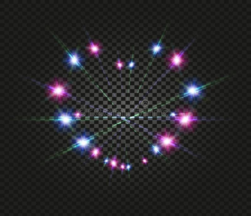 Efecto luminoso ligero azul y rosado sobre fondo transparente del negro oscuro Luz de las linternas de la noche Amor romántico stock de ilustración