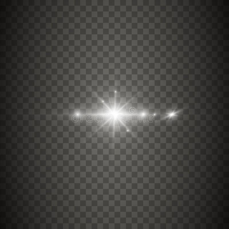 Efecto luminoso que brilla intensamente, llamarada, explosión y estrellas brillantes stock de ilustración