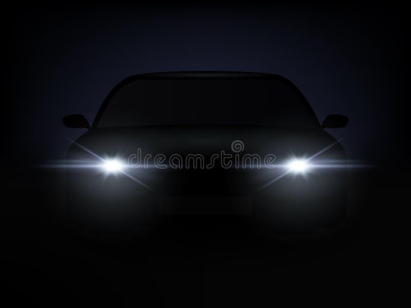Efecto luminoso realista del coche del fondo de la oscuridad Vector stock de ilustración