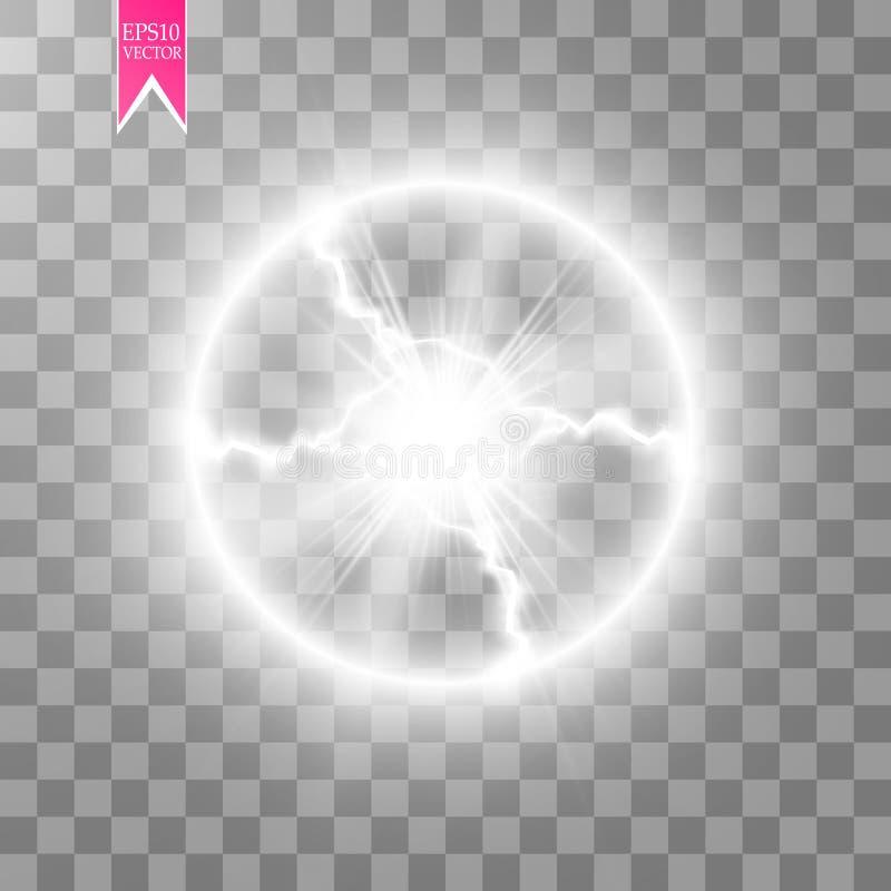 Efecto luminoso transparente del relámpago eléctrico de la bola Bola mágica del plasma ilustración del vector