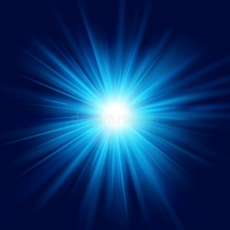 Efecto luminoso transparente del resplandor de la estrella de la explosión de la explosión azul profunda de la llamarada EPS 10 ilustración del vector