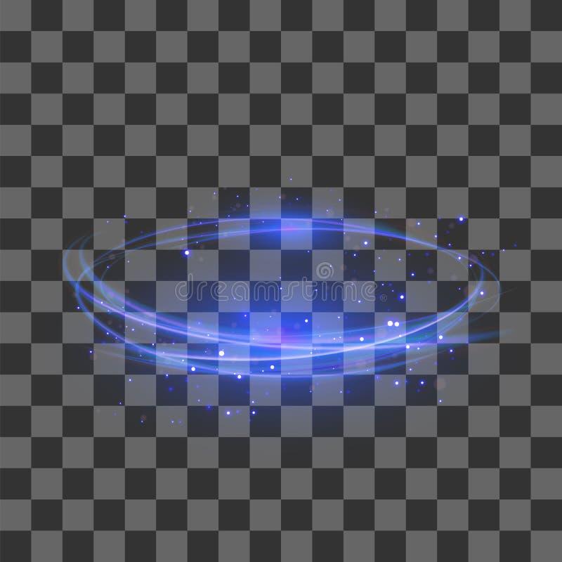 Efecto luminoso transparente Diseño azul de Flafe del relámpago Elipse abstracta con la lente circular Fuego Ring Trace libre illustration
