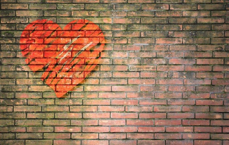 Efecto pintado corazón rojo sobre la pared de ladrillo vieja libre illustration