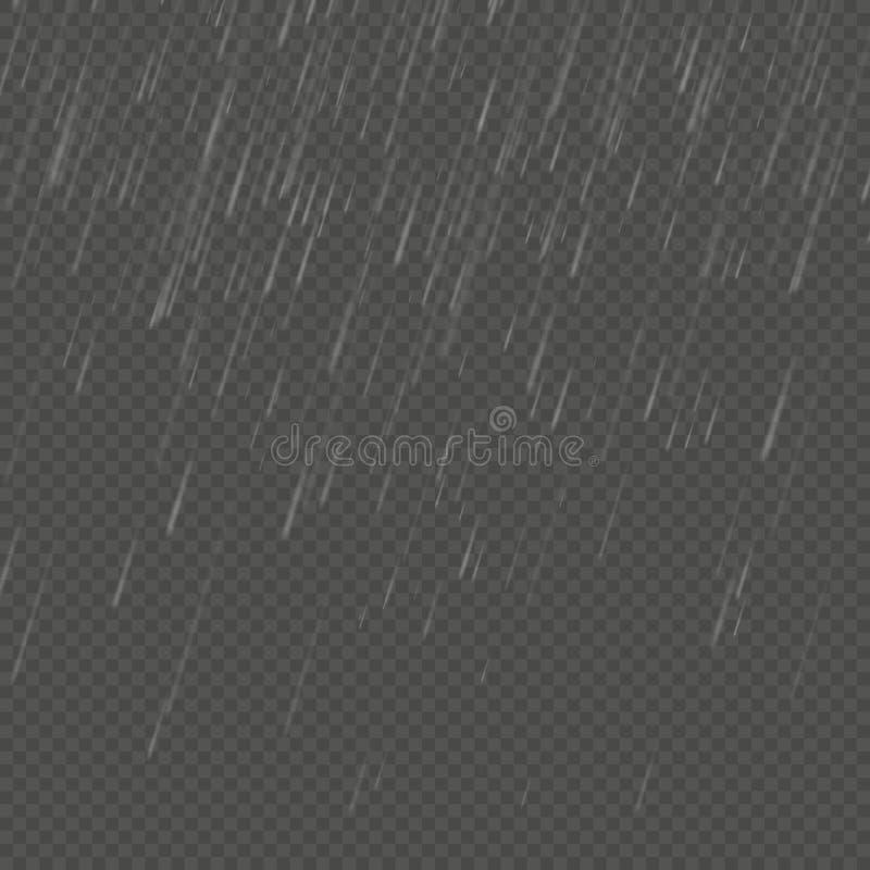 Efecto realista aislado lluvia del anglewise Plantilla transparente de la precipitación de la naturaleza EPS 10 ilustración del vector