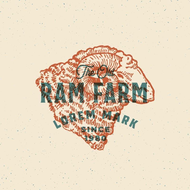 Efecto retro Ram Farm Abstract Vector Sign, símbolo de la impresión o Logo Template Ram Head Sillhouette dibujado mano con stock de ilustración