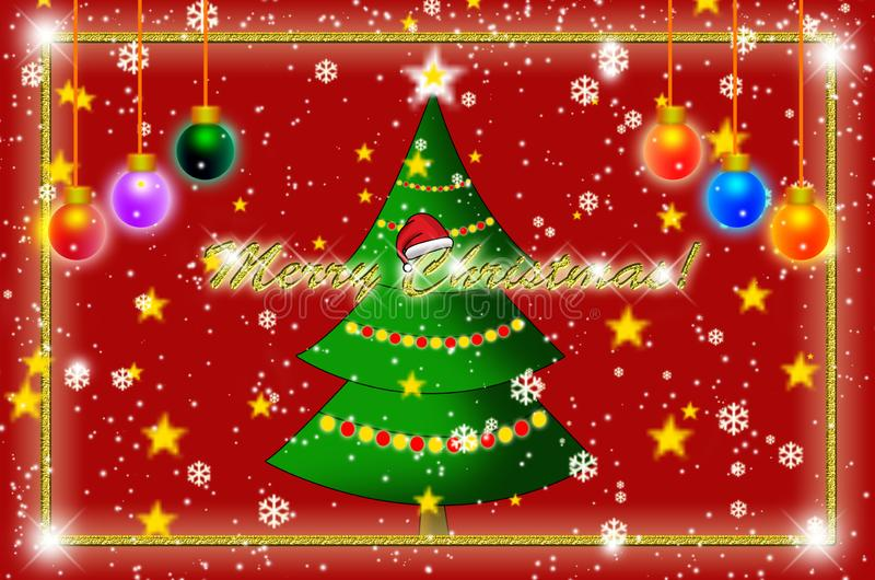 Efecto Shinning del diseño de la tarjeta de felicitación de la Feliz Navidad stock de ilustración