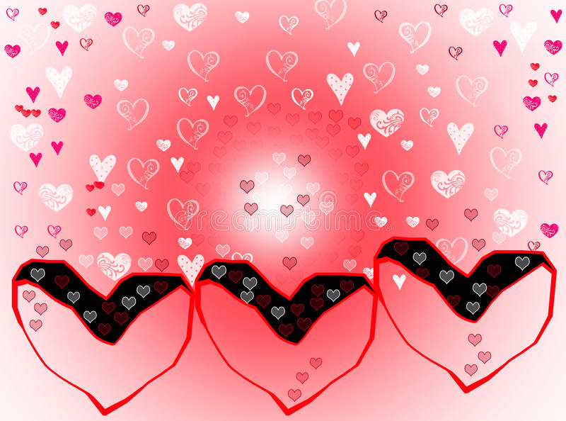 Efectos blancos rosados de la falta de definición del fondo de los corazones del amor stock de ilustración