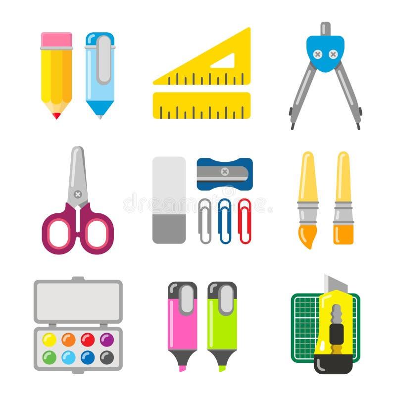Efectos de escritorio de la escuela y de la oficina Icono del vector fijado en estilo plano ilustración del vector