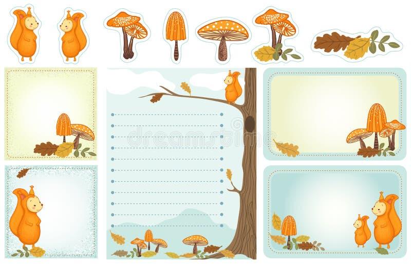 Efectos de escritorio del arbolado del otoño stock de ilustración