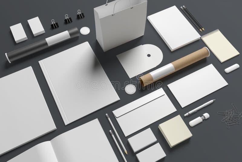 Efectos de escritorio en blanco aislados en gris ilustración del vector