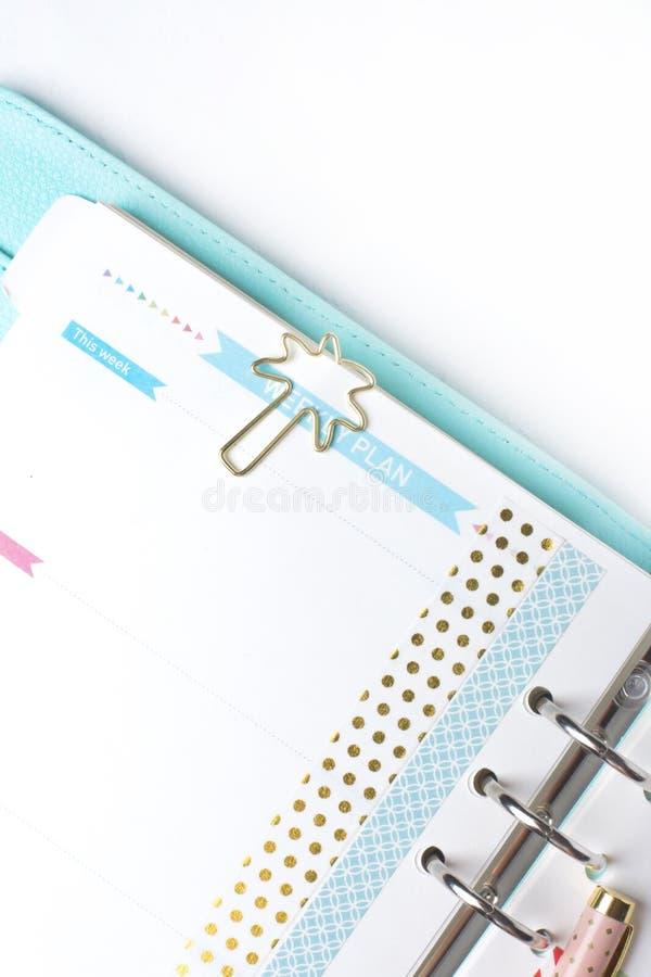 Efectos de escritorio femeninos: la carpeta de papel colorida acorta la palma y el flamin foto de archivo libre de regalías
