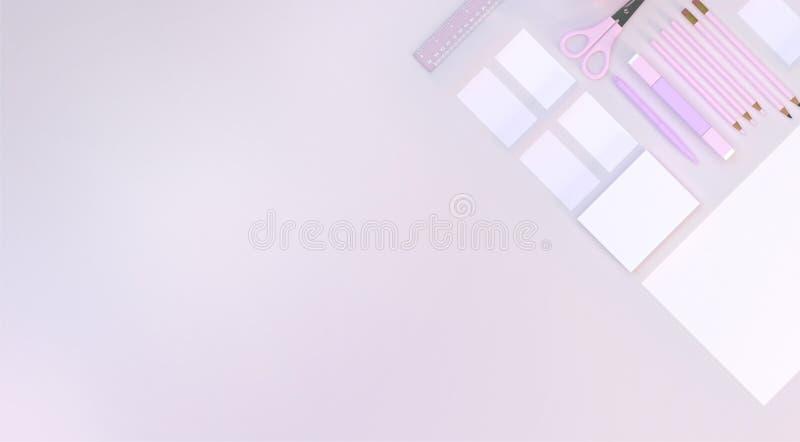 Efectos de escritorio fijados en fondo rosado del color Visión superior Endecha plana ilustración 3D libre illustration