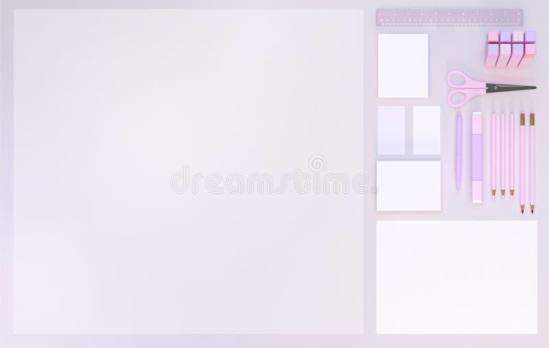 Efectos de escritorio fijados en fondo rosado del color Visión superior Endecha plana ilustración 3D stock de ilustración