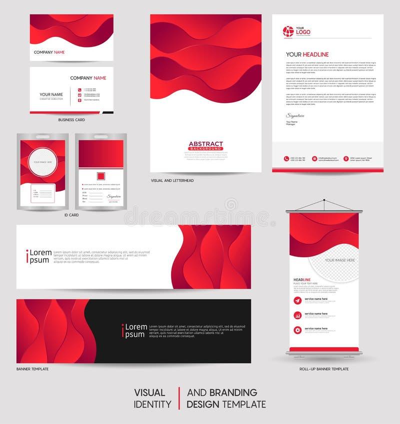 Efectos de escritorio modernos falsos encima de sistema y de identidad de marca visual con forma dinámica colorida del fondo del  ilustración del vector