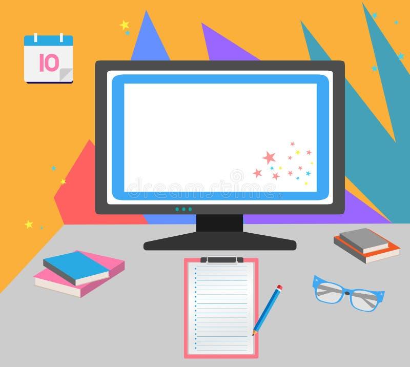 Efectos de escritorio planos y coloridos fotografía de archivo libre de regalías