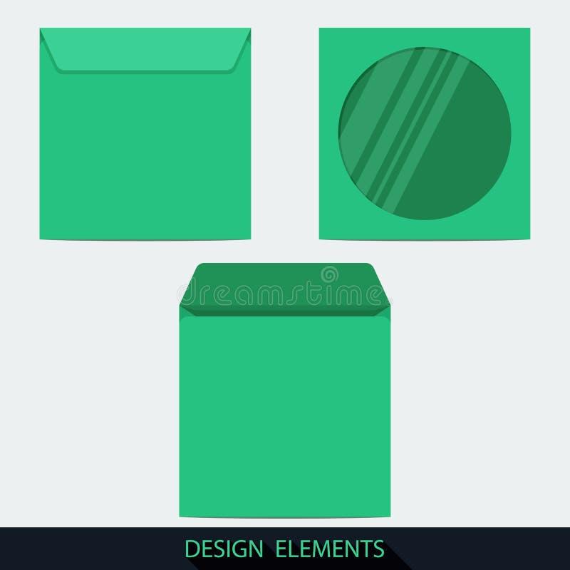 Efectos de escritorio verdes sobre en blanco del disco compacto con la ventana stock de ilustración