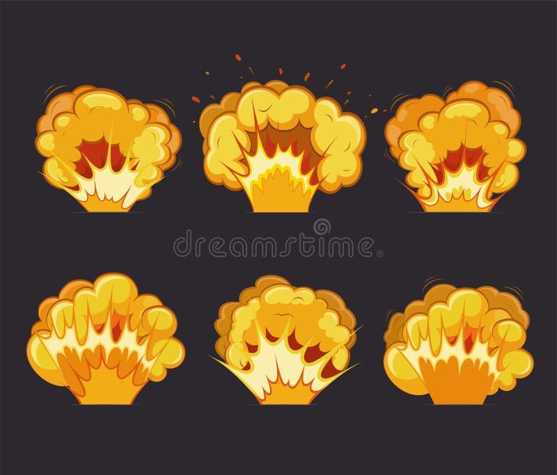 Efectos de la explosión de la historieta con el flash ilustración del vector