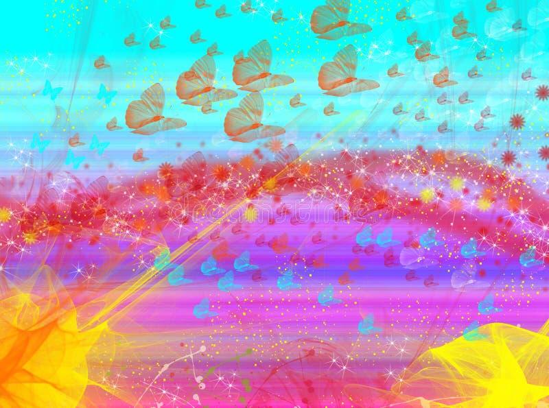Efectos de la falta de definición del fondo de las mariposas del resplandor de la onda stock de ilustración