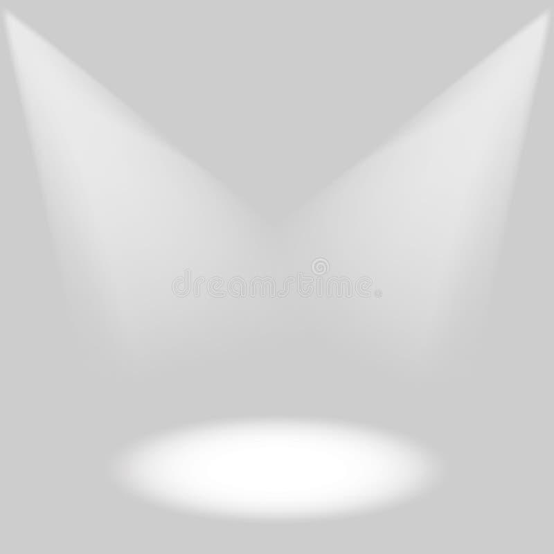 Efectos de la iluminación de la etapa sobre un fondo gris con la iluminación brillante del proyector libre illustration