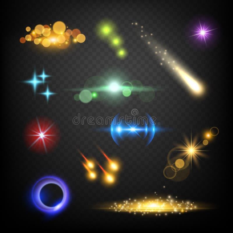 Efectos de la lente del resplandor Plantilla del extracto del vector del relámpago de los fuegos artificiales de la explosión de  ilustración del vector