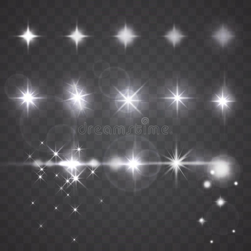 Efectos de las luces, de las estrellas o de cámara de la lente del vector sobre fondo oscuro libre illustration