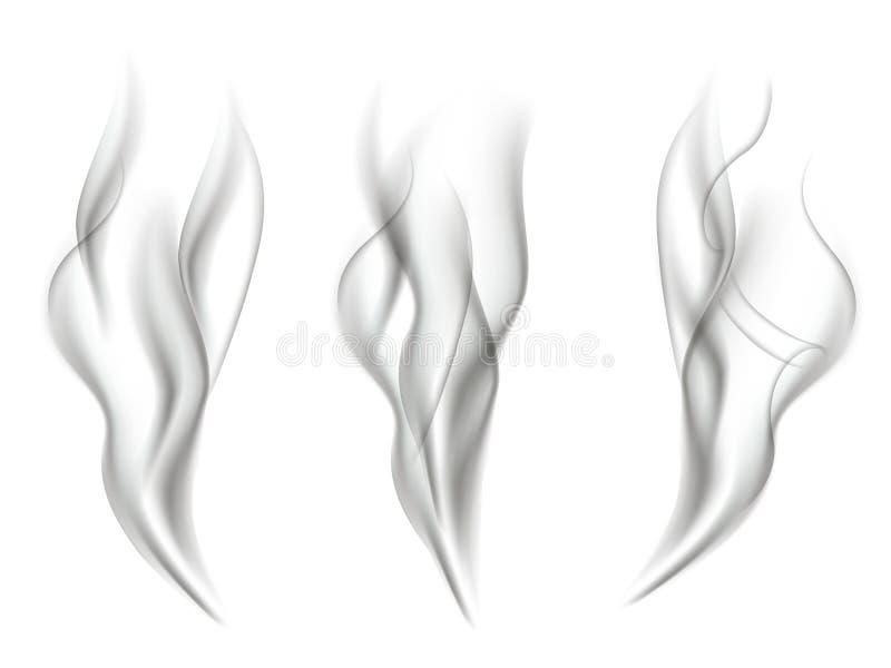 Efectos del humo aislados sobre el fondo blanco Sistema del efecto del humo del vector ilustración del vector