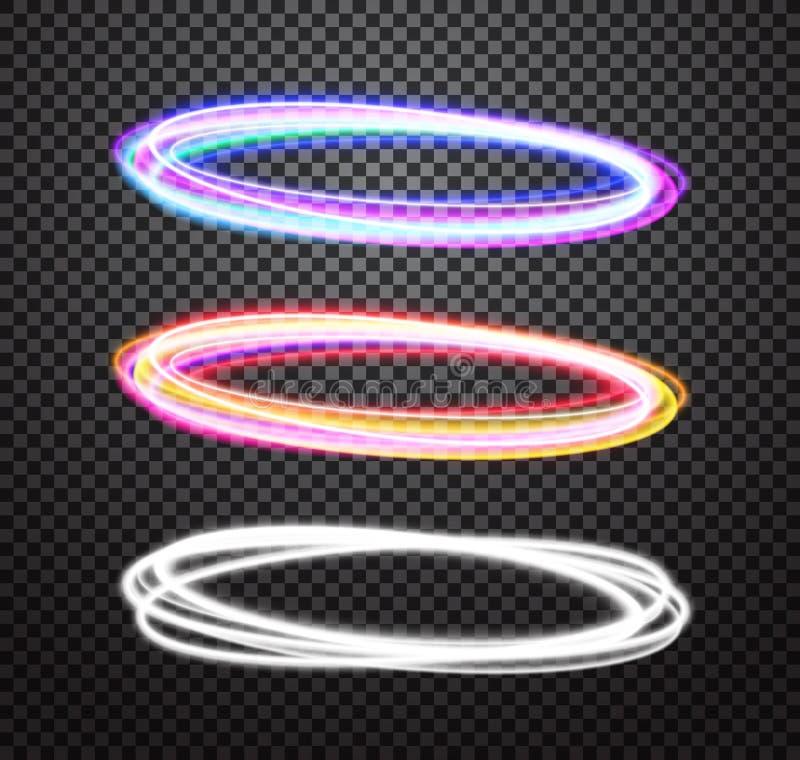 Efectos especiales de la luz de neón del vector redondo del rastro fijados ilustración del vector
