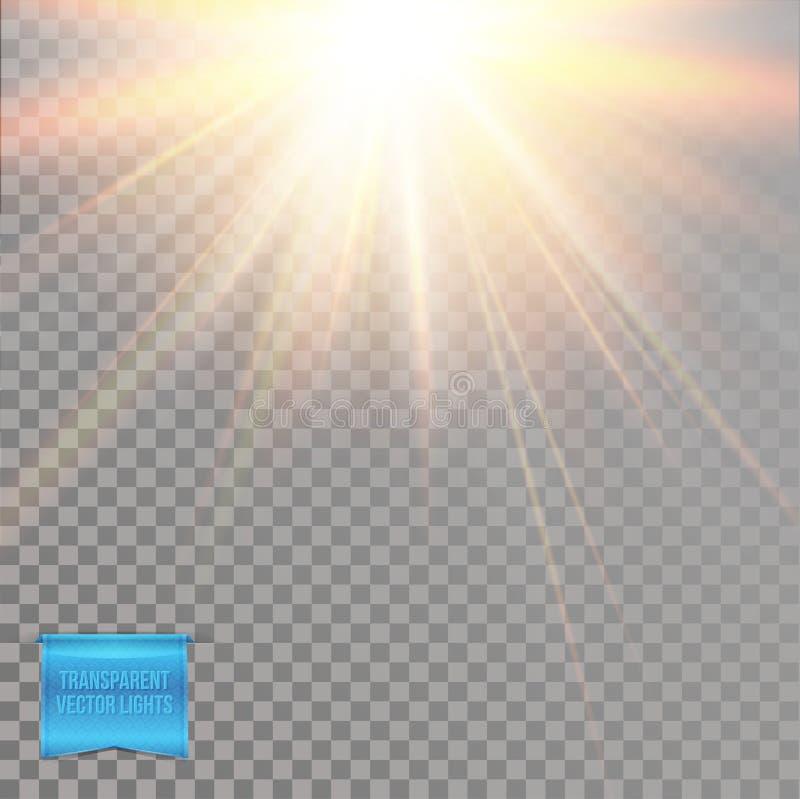 Efectos luminosos abstractos del sol amarillo caliente que brilla intensamente, explosión de la estrella ilustración del vector