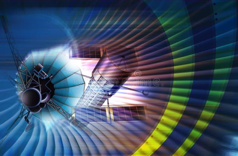 Efectos luminosos basados en los satélites y ilustración del vector