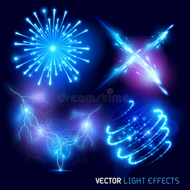 Efectos luminosos del vector stock de ilustración