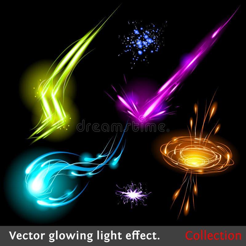 Efectos luminosos del vector fijados stock de ilustración