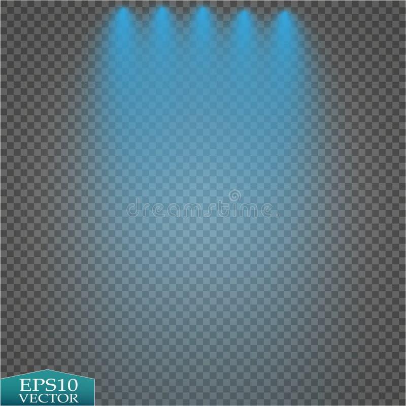 Efectos luminosos especiales Proyectores brillantes del vector realista para la iluminación de la escena en el contexto de la tel ilustración del vector