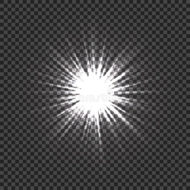 Efectos luminosos que brillan intensamente con la transparencia Explosión ligera con el fondo transparente La lente señala por me libre illustration