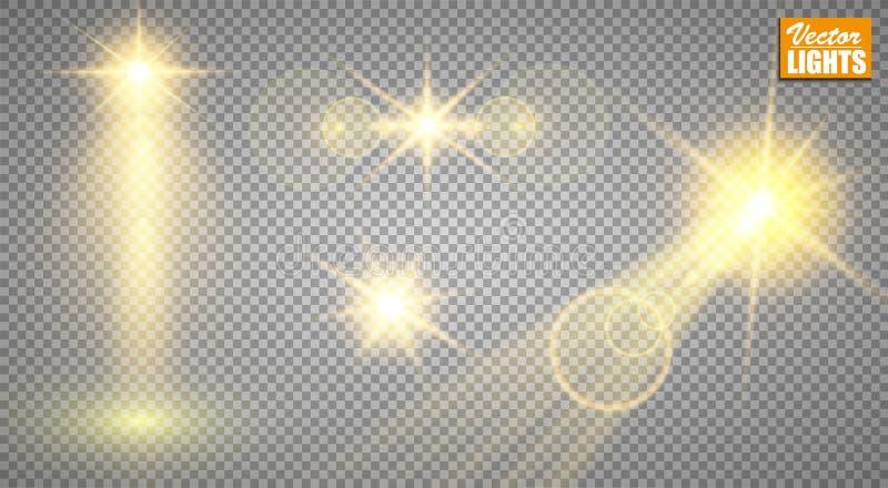 Efectos luminosos Un sistema de luces brillantes de oro aisladas en un fondo transparente Los flashes de destello con los rayos y stock de ilustración