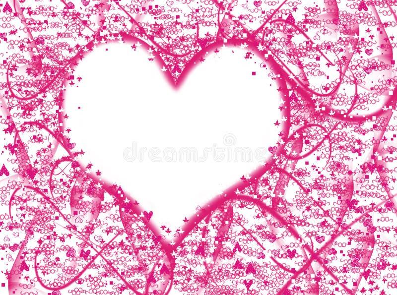 Efectos rosados de la falta de definición del fondo de la textura del lovecolor del corazón stock de ilustración