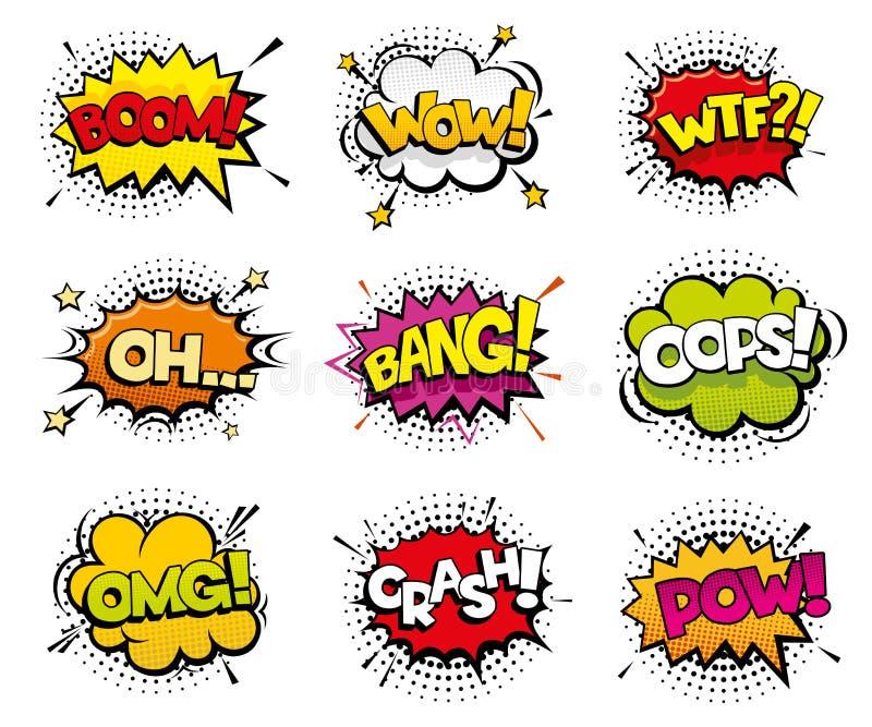 Efectos sonoros cómicos en estilo del vector del arte pop stock de ilustración