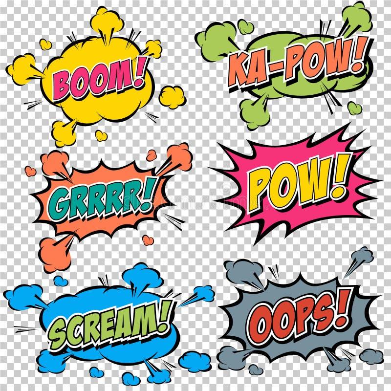 Efectos sonoros cómicos multicolores de la colección libre illustration